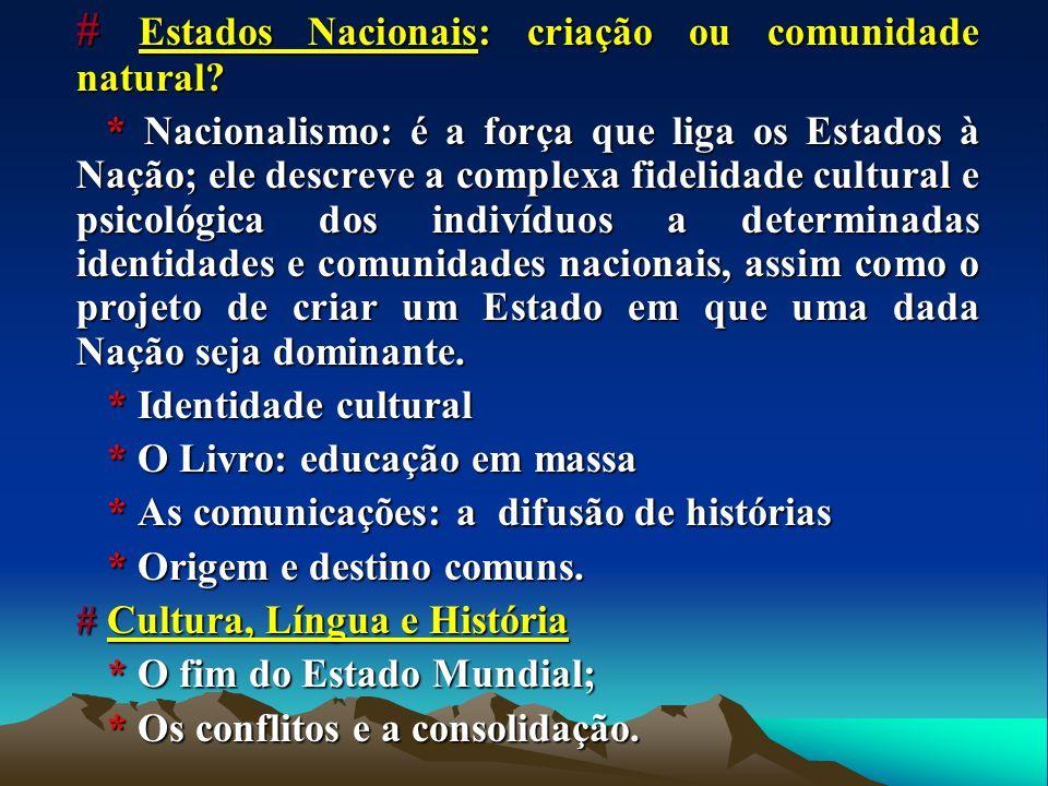# Estados Nacionais: criação ou comunidade natural