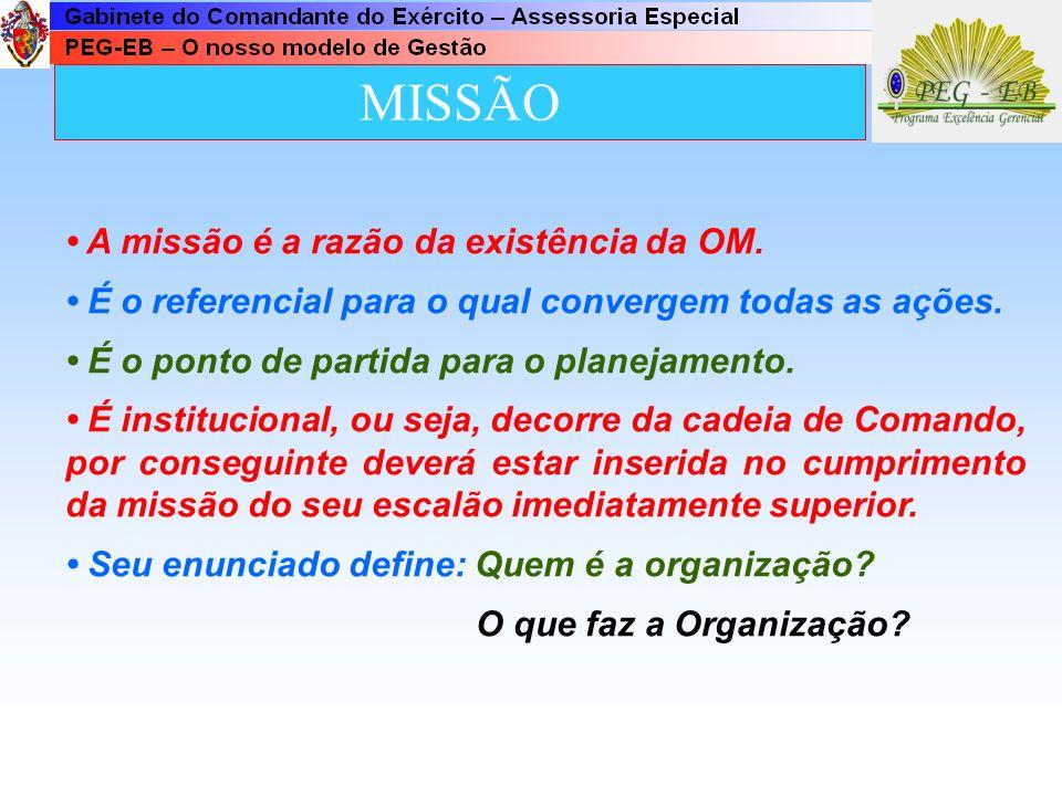 MISSÃO • A missão é a razão da existência da OM.