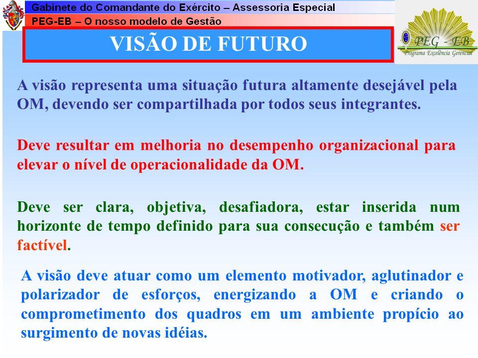 VISÃO DE FUTURO A visão representa uma situação futura altamente desejável pela OM, devendo ser compartilhada por todos seus integrantes.