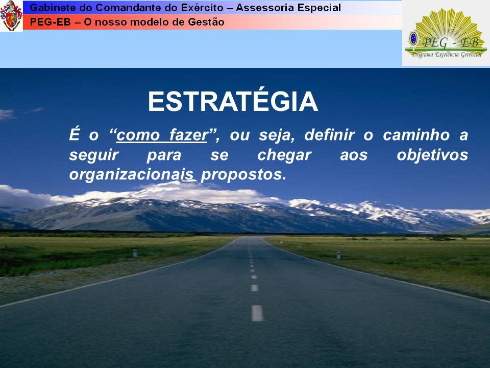 ESTRATÉGIA É o como fazer , ou seja, definir o caminho a seguir para se chegar aos objetivos organizacionais propostos.