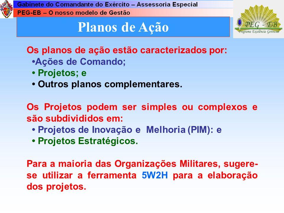 Planos de Ação Os planos de ação estão caracterizados por: