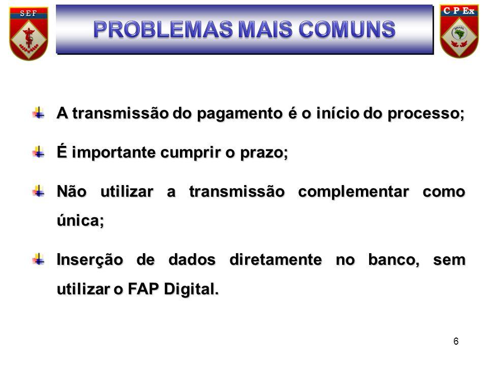 SUMÁRIO PROBLEMAS MAIS COMUNS. A transmissão do pagamento é o início do processo; É importante cumprir o prazo;