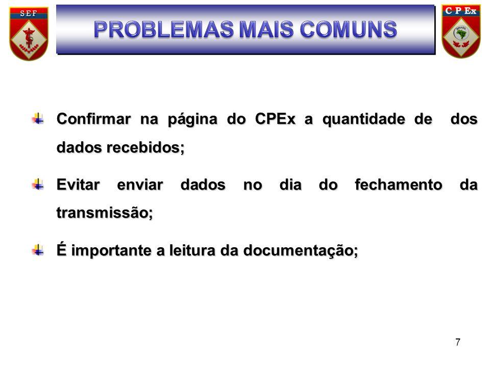 SUMÁRIO PROBLEMAS MAIS COMUNS. Confirmar na página do CPEx a quantidade de dos dados recebidos;