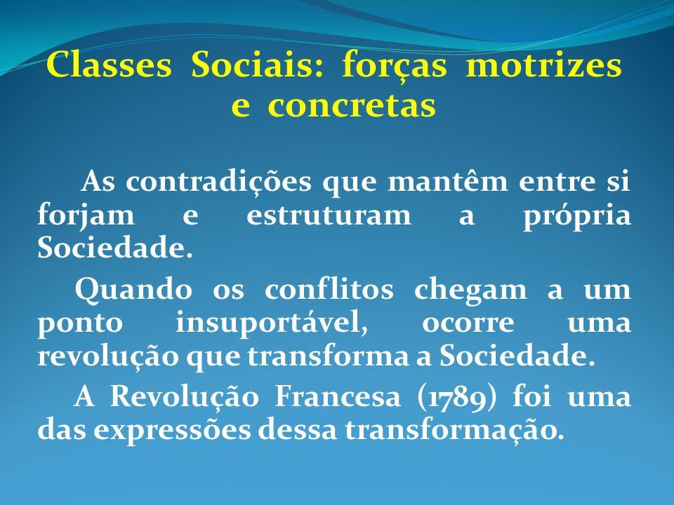 Classes Sociais: forças motrizes e concretas