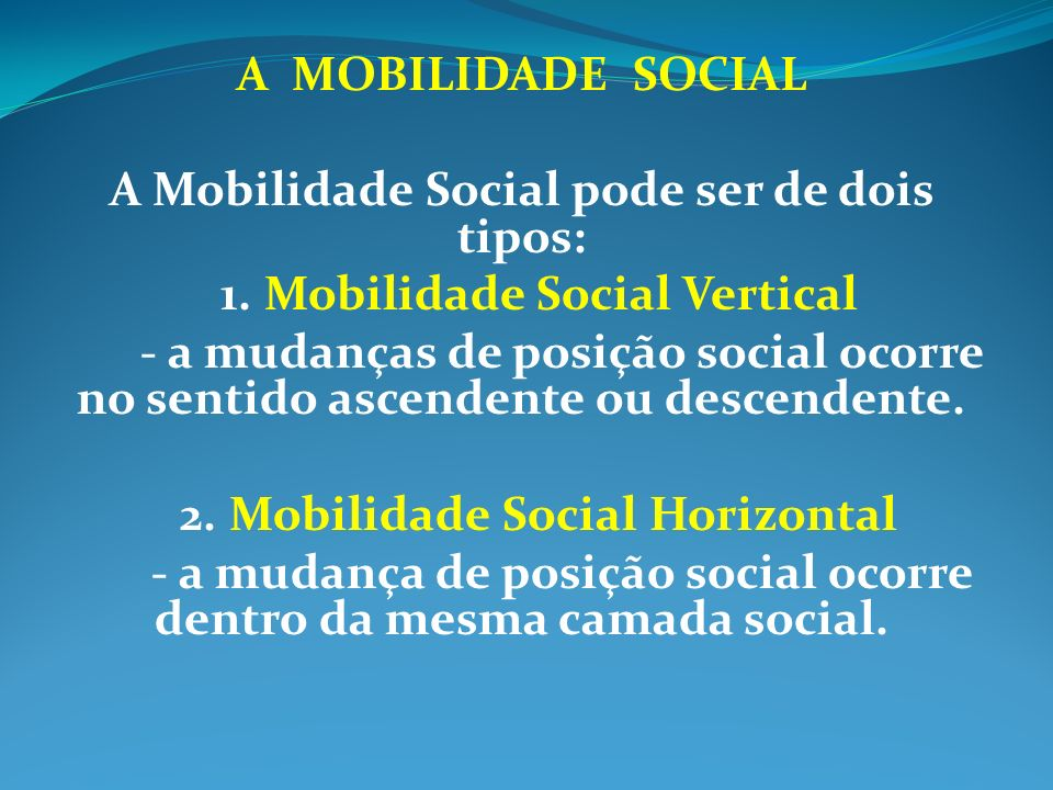 A Mobilidade Social pode ser de dois tipos: