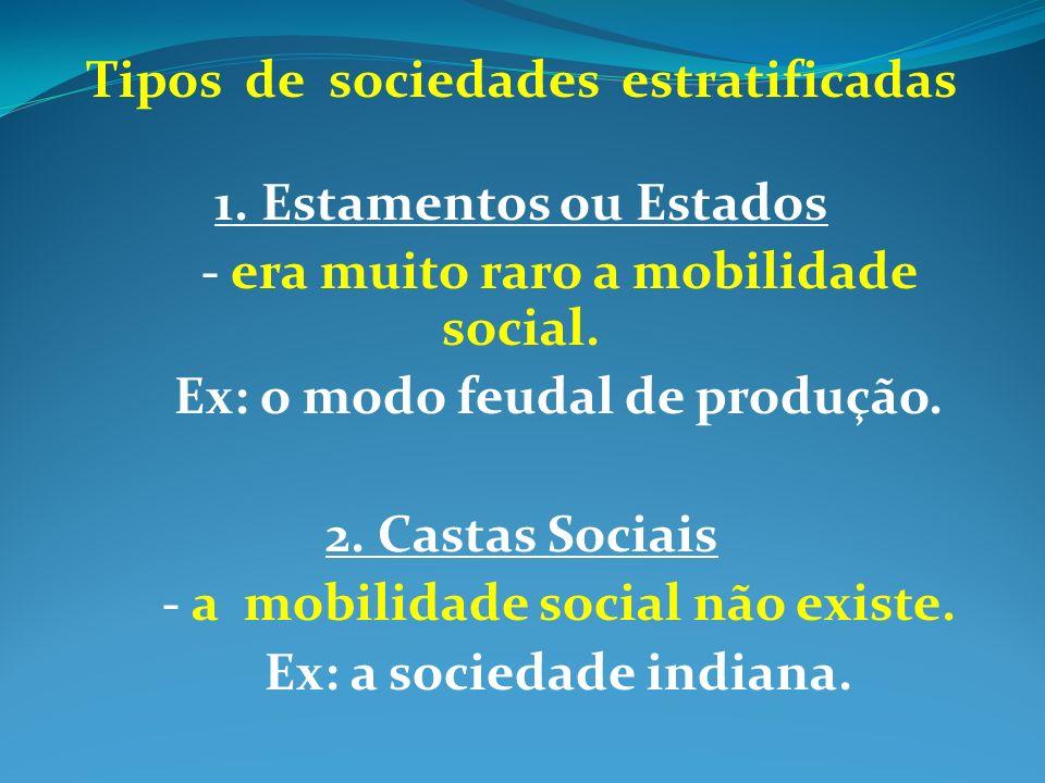 Tipos de sociedades estratificadas 1. Estamentos ou Estados