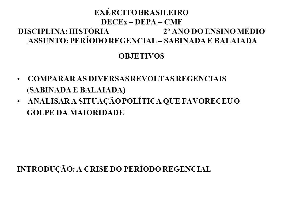 EXÉRCITO BRASILEIRO DECEx – DEPA – CMF DISCIPLINA: HISTÓRIA 2º ANO DO ENSINO MÉDIO ASSUNTO: PERÍODO REGENCIAL – SABINADA E BALAIADA