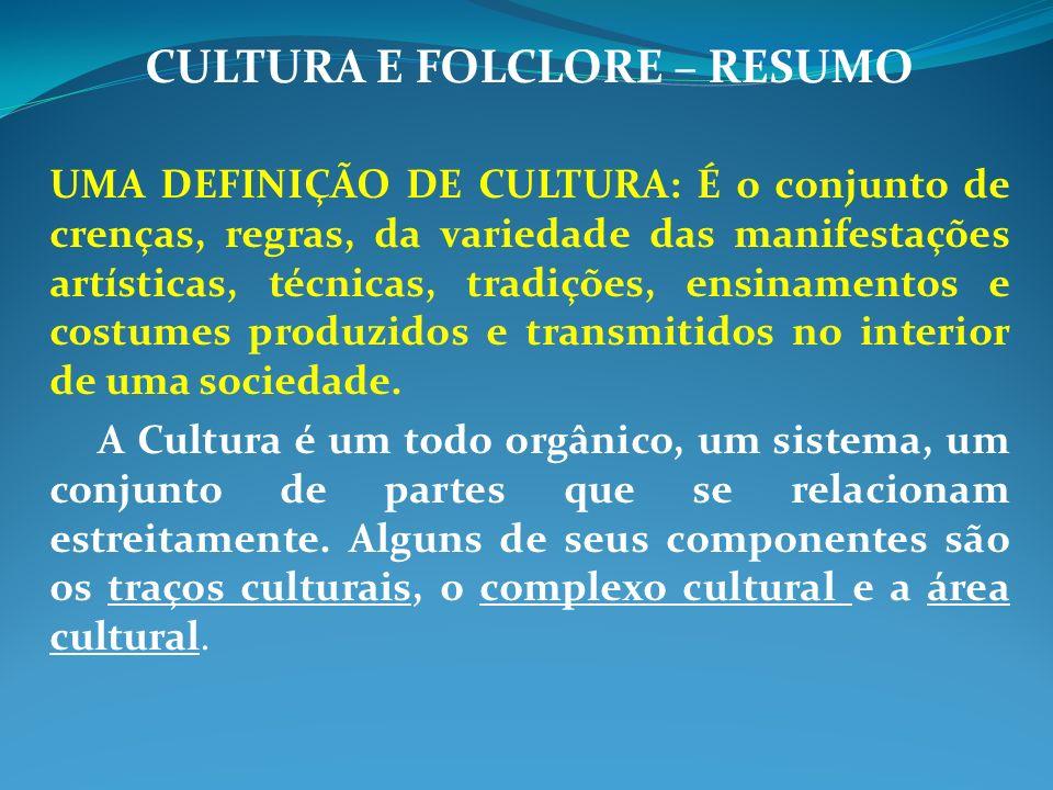 CULTURA E FOLCLORE – RESUMO