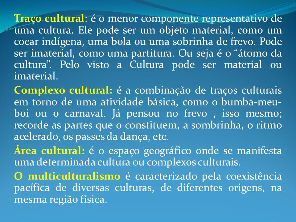 Traço cultural: é o menor componente representativo de uma cultura