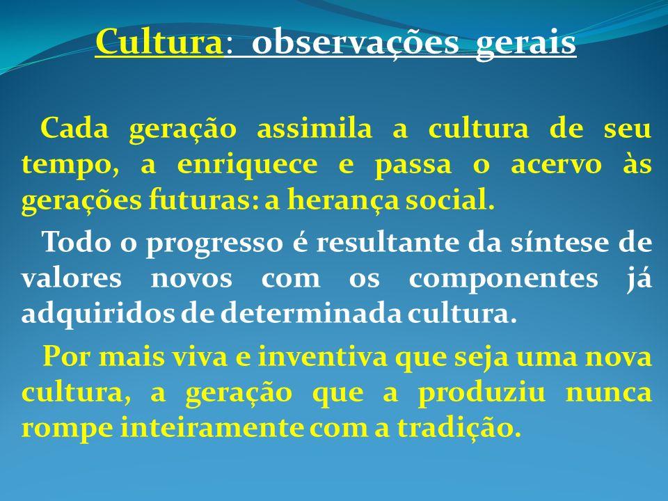 Cultura: observações gerais