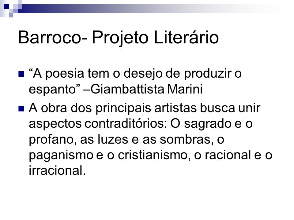 Barroco- Projeto Literário