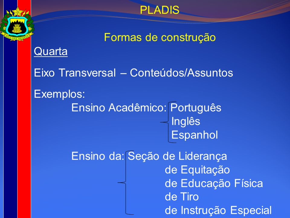 PLADISFormas de construção. Quarta. Eixo Transversal – Conteúdos/Assuntos. Exemplos: Ensino Acadêmico: Português.