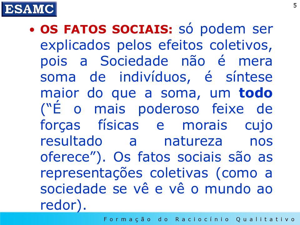 OS FATOS SOCIAIS: só podem ser explicados pelos efeitos coletivos, pois a Sociedade não é mera soma de indivíduos, é síntese maior do que a soma, um todo ( É o mais poderoso feixe de forças físicas e morais cujo resultado a natureza nos oferece ).