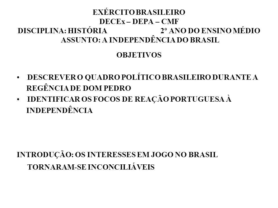 EXÉRCITO BRASILEIRO DECEx – DEPA – CMF DISCIPLINA: HISTÓRIA 2º ANO DO ENSINO MÉDIO ASSUNTO: A INDEPENDÊNCIA DO BRASIL
