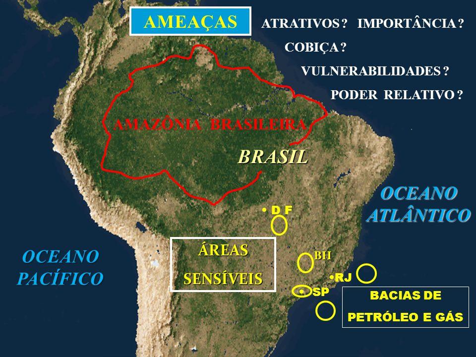 BRASIL AMEAÇAS OCEANO ATLÂNTICO OCEANO PACÍFICO AMAZÔNIA BRASILEIRA
