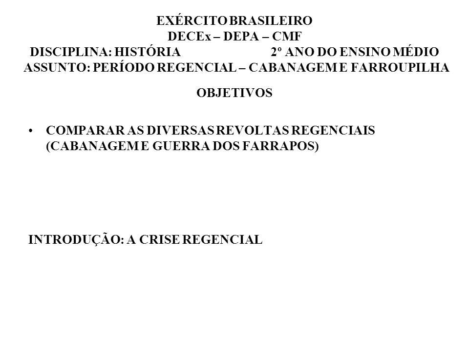 EXÉRCITO BRASILEIRO DECEx – DEPA – CMF DISCIPLINA: HISTÓRIA 2º ANO DO ENSINO MÉDIO ASSUNTO: PERÍODO REGENCIAL – CABANAGEM E FARROUPILHA