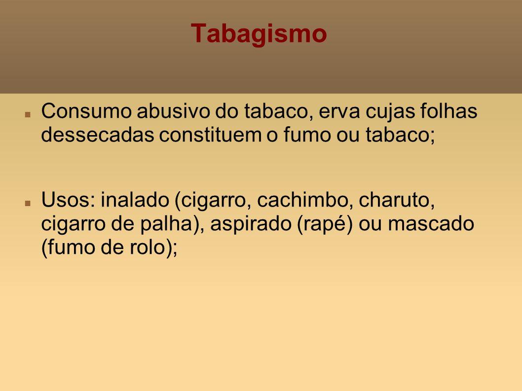 TabagismoConsumo abusivo do tabaco, erva cujas folhas dessecadas constituem o fumo ou tabaco;