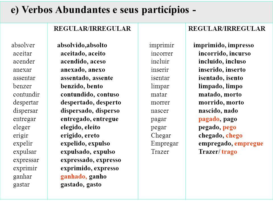 e) Verbos Abundantes e seus particípios -