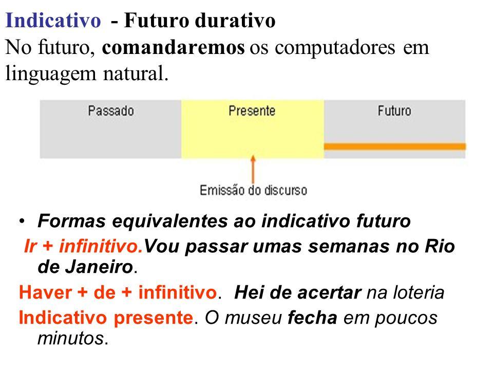 Indicativo - Futuro durativo No futuro, comandaremos os computadores em linguagem natural.
