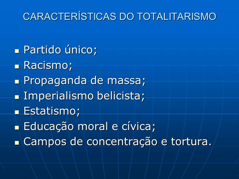 CARACTERÍSTICAS DO TOTALITARISMO