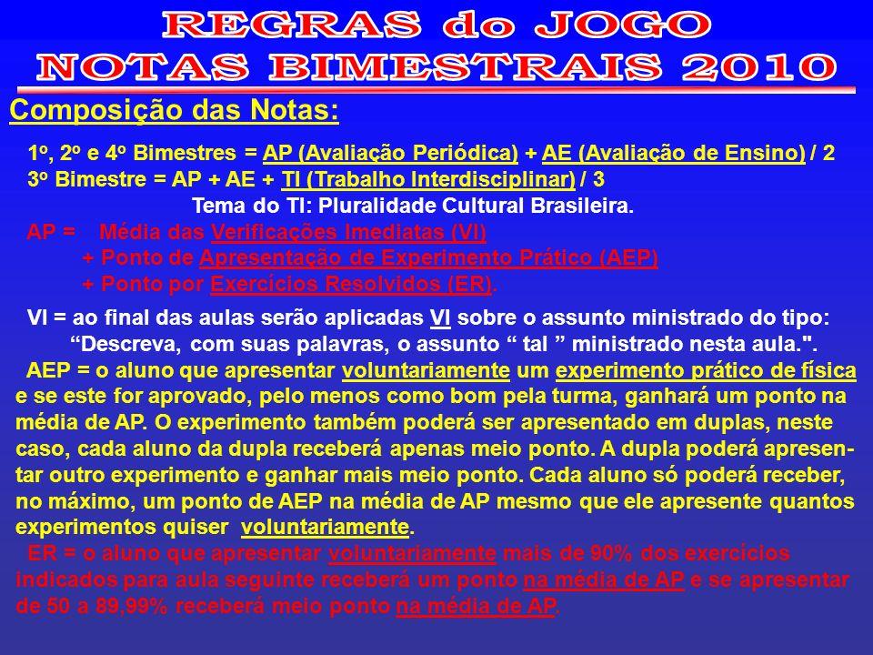 REGRAS do JOGO NOTAS BIMESTRAIS 2010