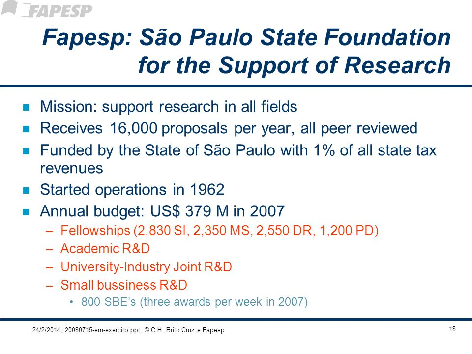 Fapesp: São Paulo State Foundation for the Support of Research
