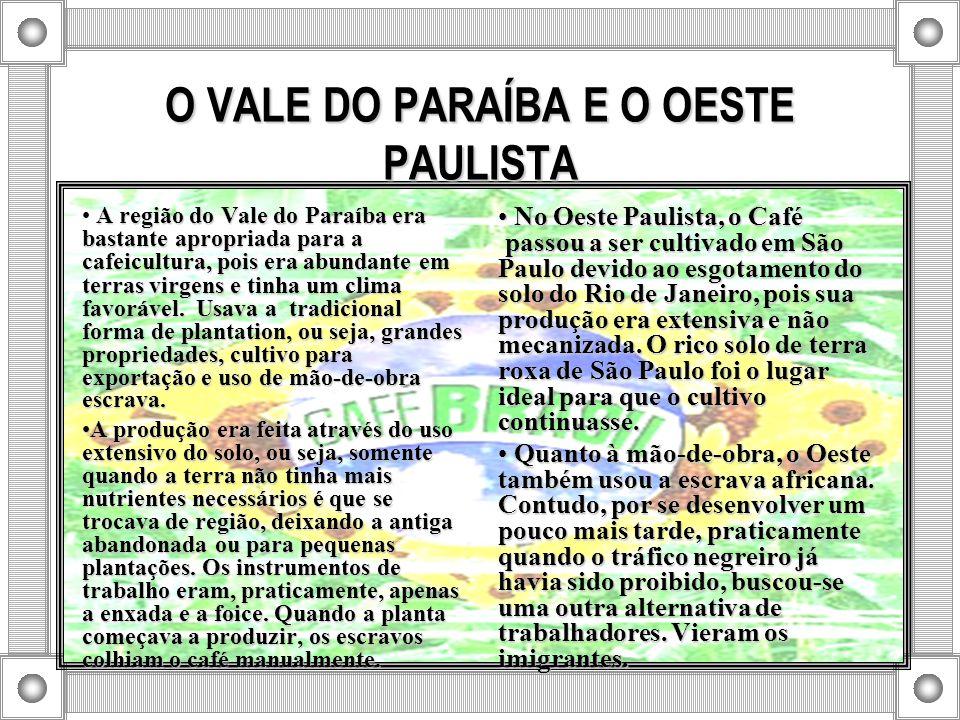 O VALE DO PARAÍBA E O OESTE PAULISTA