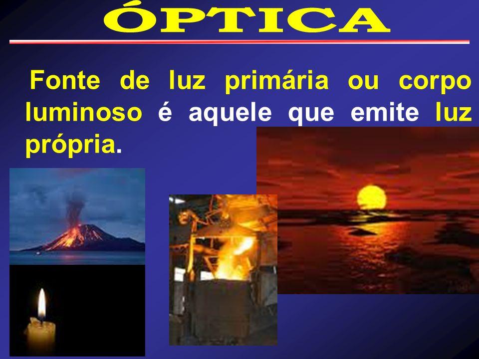 ÓPTICA Fonte de luz primária ou corpo luminoso é aquele que emite luz própria.