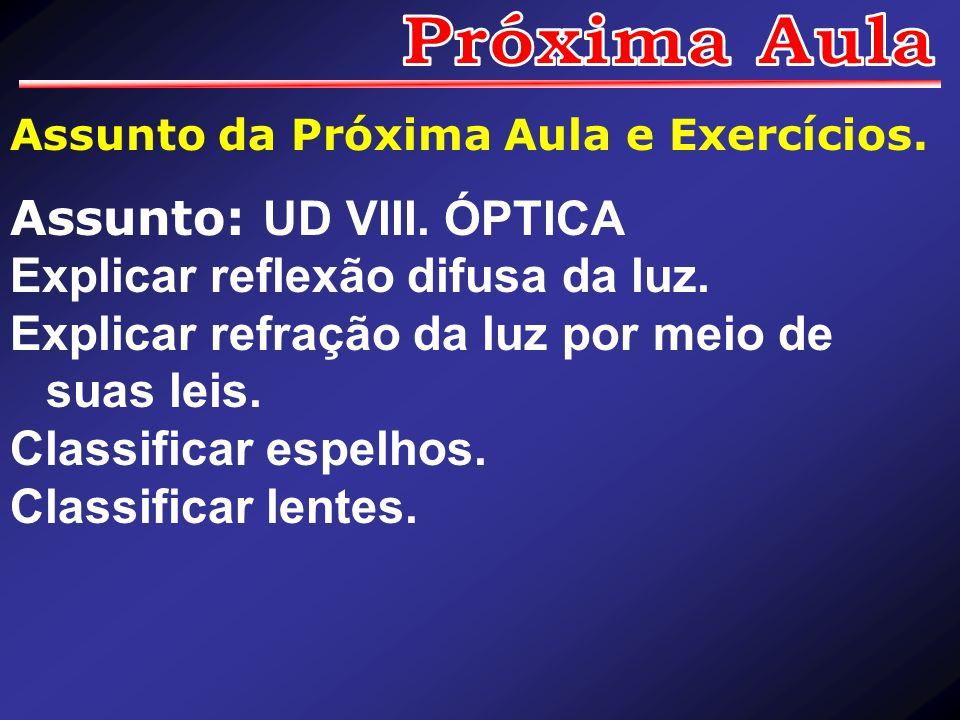 Assunto: UD VIII. ÓPTICA Explicar reflexão difusa da luz.