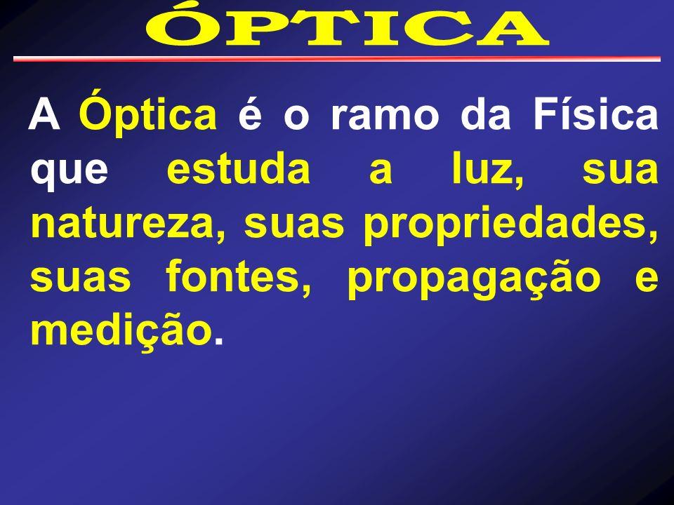 ÓPTICA A Óptica é o ramo da Física que estuda a luz, sua natureza, suas propriedades, suas fontes, propagação e medição.