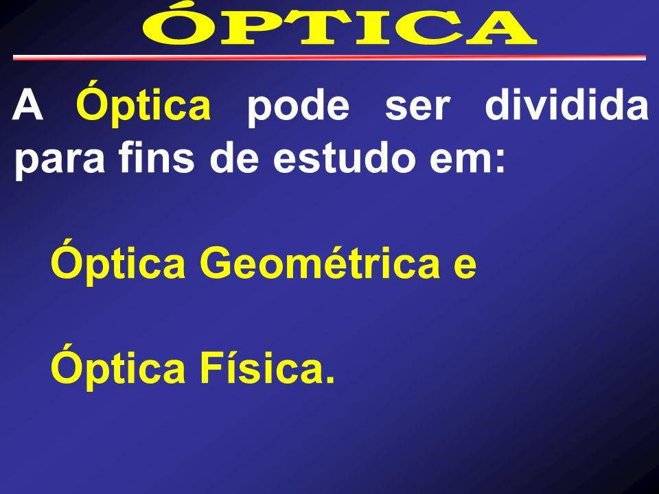 A Óptica pode ser dividida para fins de estudo em: