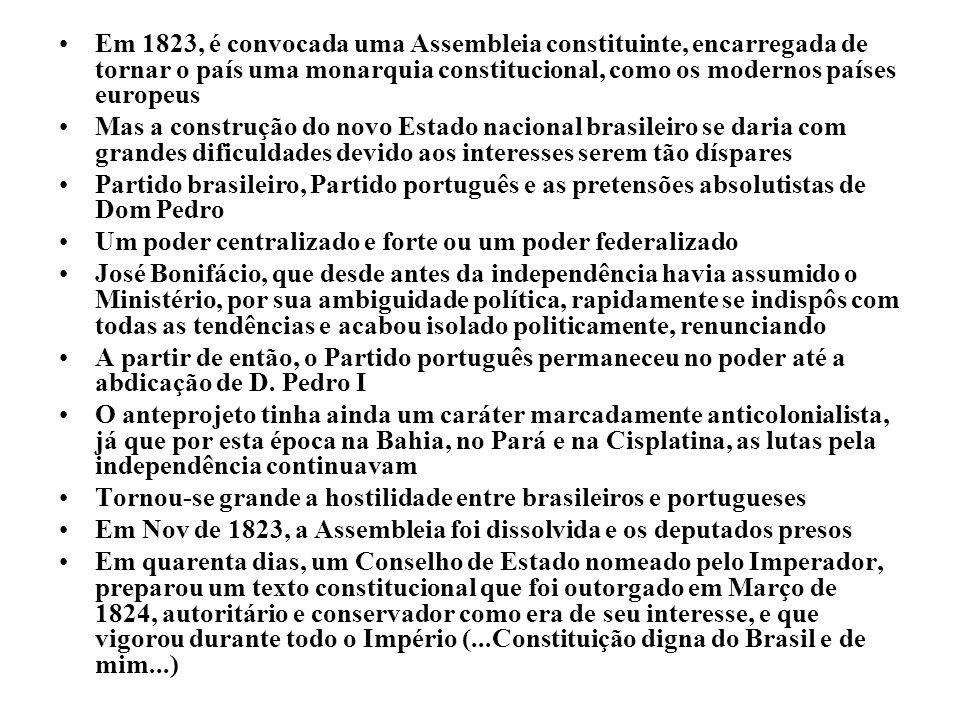 Em 1823, é convocada uma Assembleia constituinte, encarregada de tornar o país uma monarquia constitucional, como os modernos países europeus