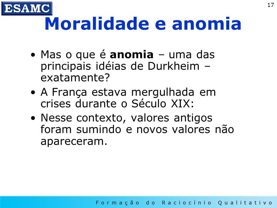 Moralidade e anomia Mas o que é anomia – uma das principais idéias de Durkheim – exatamente