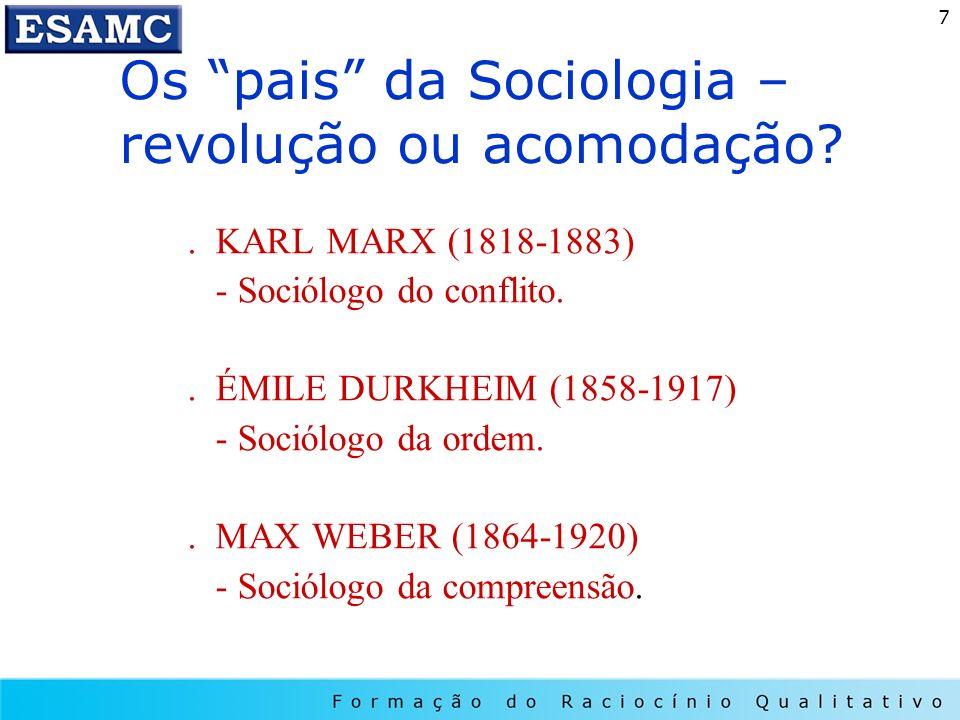 Os pais da Sociologia – revolução ou acomodação