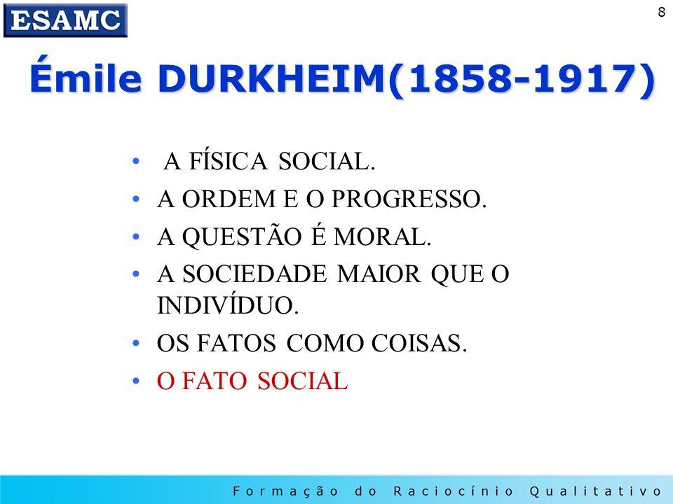 Émile DURKHEIM(1858-1917) A FÍSICA SOCIAL. A ORDEM E O PROGRESSO.