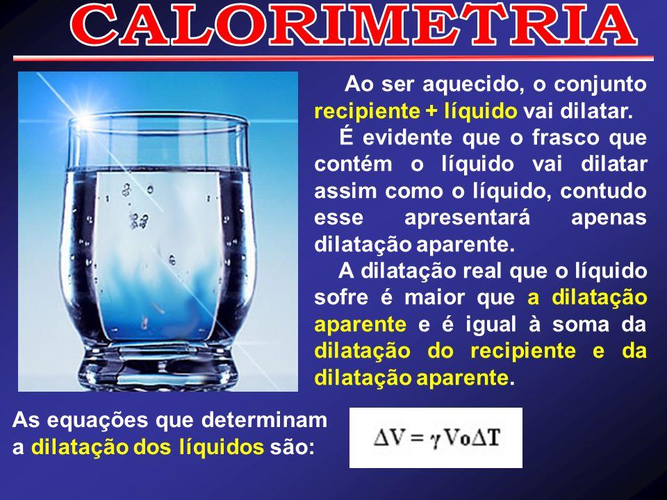 CALORIMETRIA Ao ser aquecido, o conjunto recipiente + líquido vai dilatar.