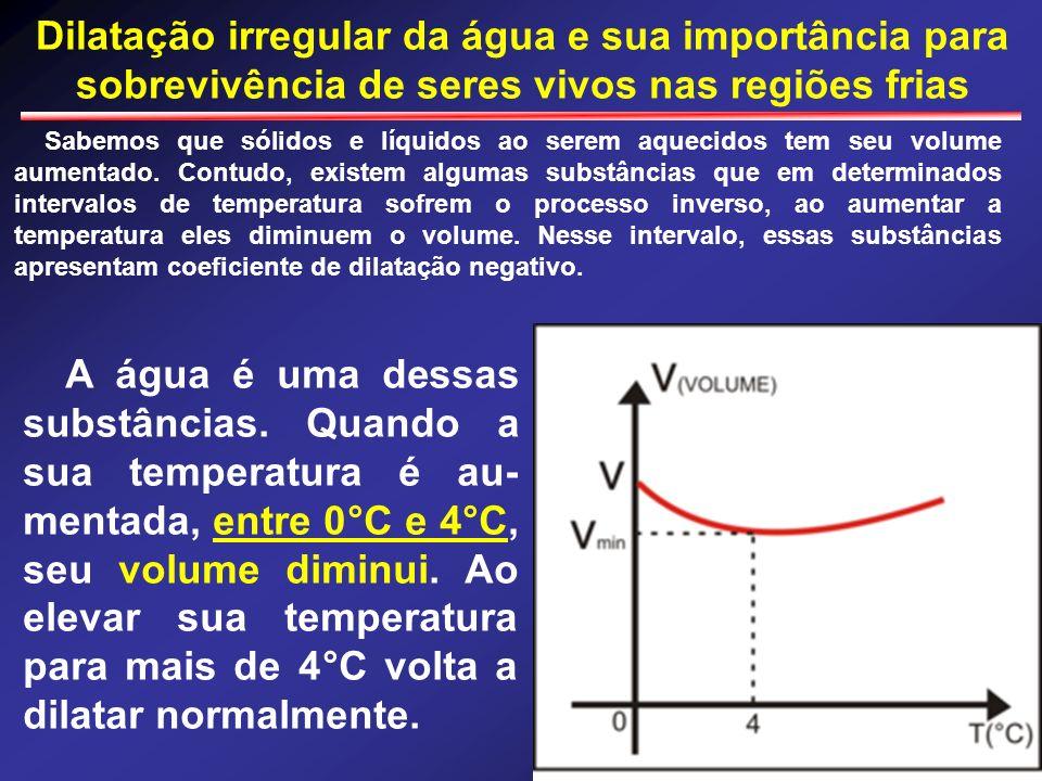 Dilatação irregular da água e sua importância para sobrevivência de seres vivos nas regiões frias