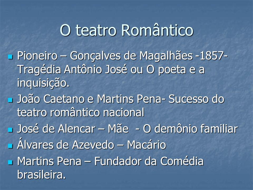 O teatro RomânticoPioneiro – Gonçalves de Magalhães -1857- Tragédia Antônio José ou O poeta e a inquisição.