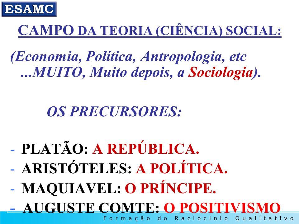 CAMPO DA TEORIA (CIÊNCIA) SOCIAL: