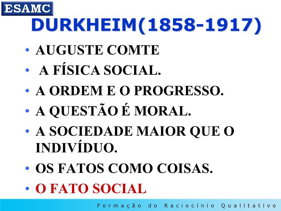 DURKHEIM(1858-1917) AUGUSTE COMTE A FÍSICA SOCIAL.