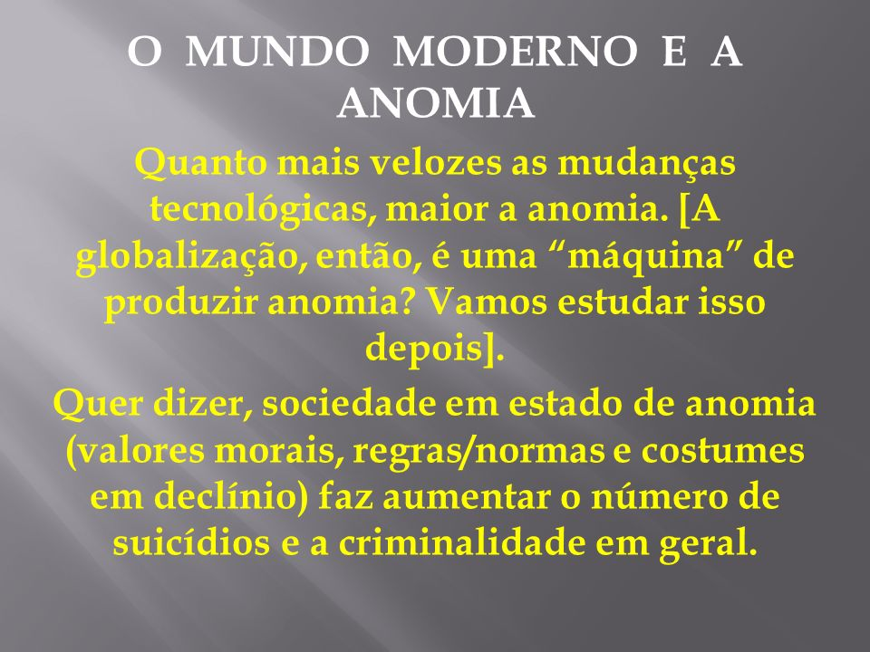 O MUNDO MODERNO E A ANOMIA