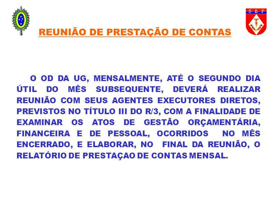 REUNIÃO DE PRESTAÇÃO DE CONTAS