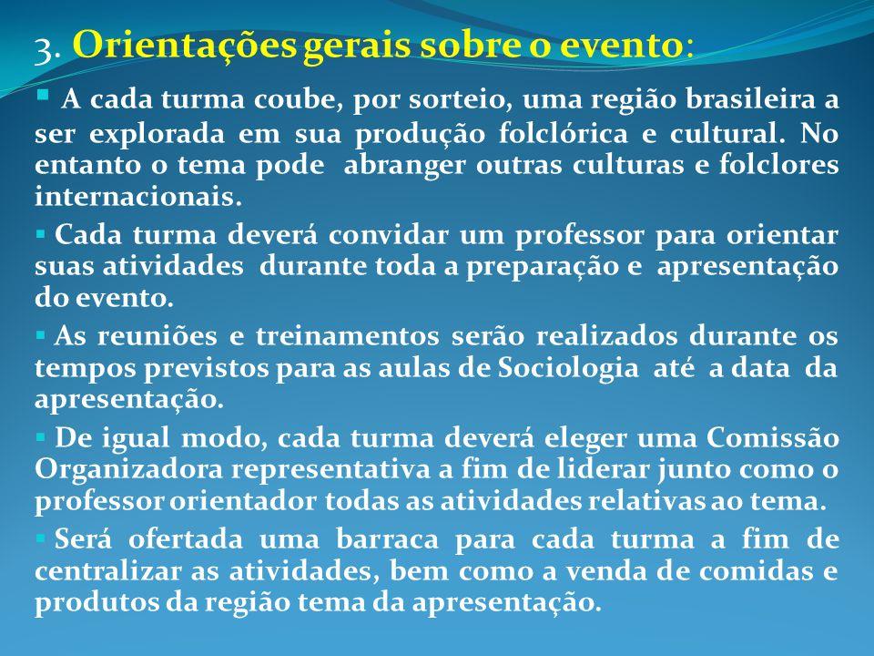 3. Orientações gerais sobre o evento: