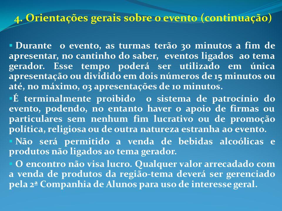 4. Orientações gerais sobre o evento (continuação)