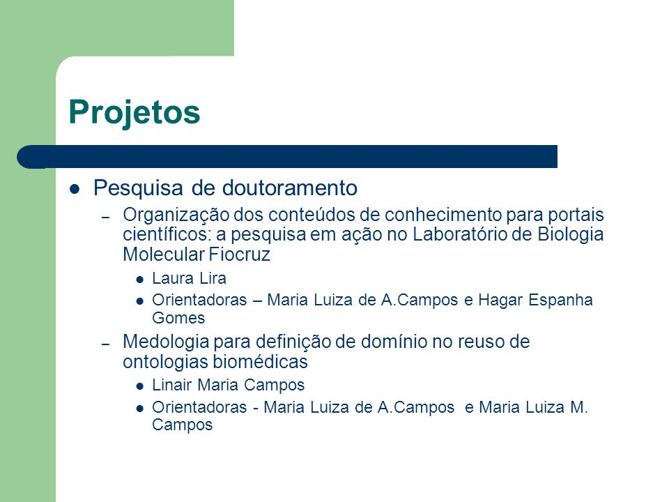 Projetos Pesquisa de doutoramento