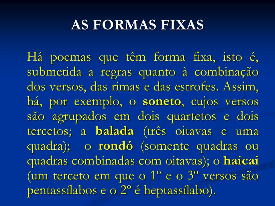 AS FORMAS FIXAS