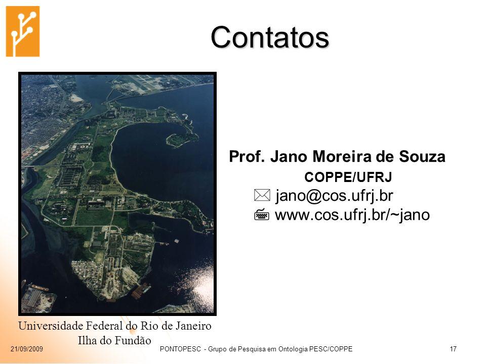 Contatos Prof. Jano Moreira de Souza  jano@cos.ufrj.br