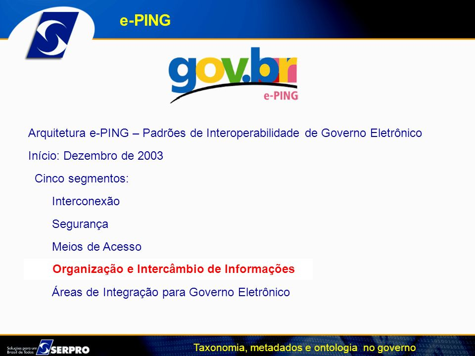 e-PINGArquitetura e-PING – Padrões de Interoperabilidade de Governo Eletrônico. Início: Dezembro de 2003.
