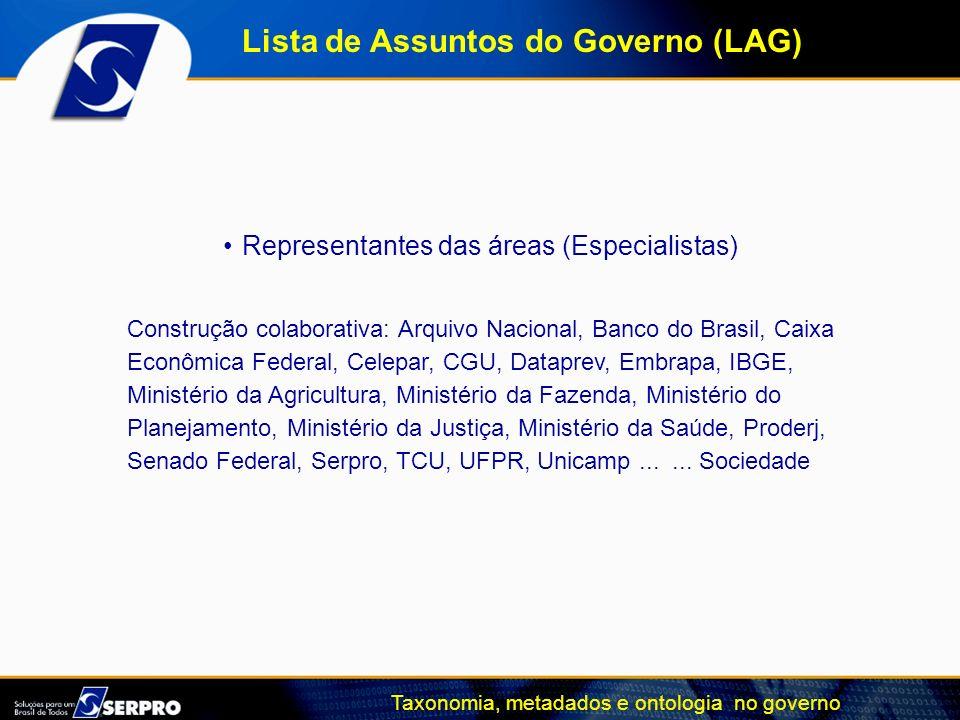 Representantes das áreas (Especialistas)