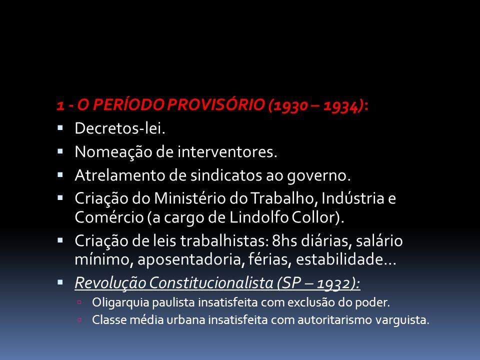 1 - O PERÍODO PROVISÓRIO (1930 – 1934): Decretos-lei.